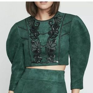 🆕 NEW with tag BCBGMAXAZARIA Vegan Leather Faux Suede Crop Top Poof Sleeve Bead